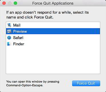 Mac Force Quit menu